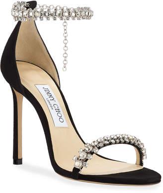 Jimmy Choo Shiloh High-Heel Crystal Anklet Sandals
