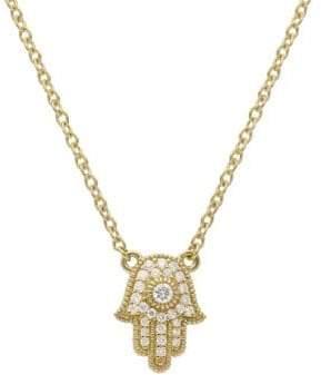 Ripka Juliette Pave Diamond and 14K Yellow Gold Hamsa Pendant
