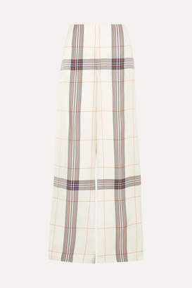 Roland Mouret Tayport Checked Woven Wide-leg Pants - Ivory