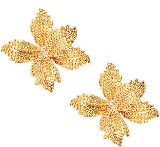 Eye Candy Los Angeles Eye Candy La 14K Plated Cz Leaf Floral Earring