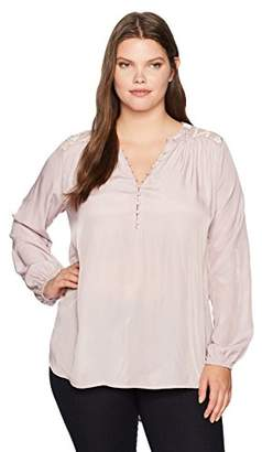 Democracy Women's Plus-Size Long Sleeve Blouse with Hi Lo Hem