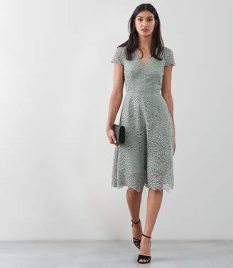 Reiss Arielle Lace Fit And Flare Dress