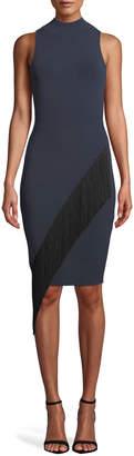 Milly Mock-Neck Sleeveless Body-Con Angled Fringe Dress