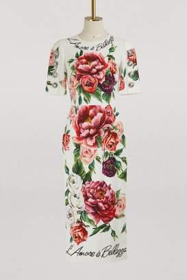 Dolce & Gabbana Pionies print midi dress