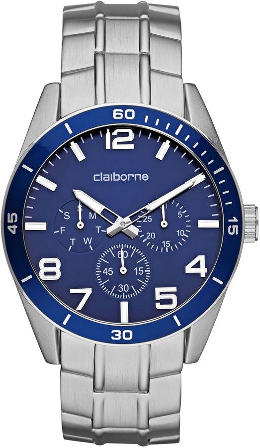 Claiborne Mens Blue & Silver-Tone Chronograph Watch