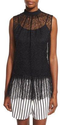 McQ Alexander McQueen Sleeveless Lace Ruffle Blouse, Black $495 thestylecure.com