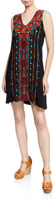 Johnny Was Plus Size Ornelia Embroidered Scoop-Neck Tank Dress