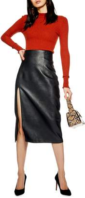 Topshop Faux Leather Pencil Skirt