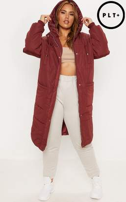 PrettyLittleThing Plus Burgundy Longline Puffer Coat