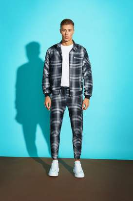 boohoo Large Grid Check Smart Bomber Jacket