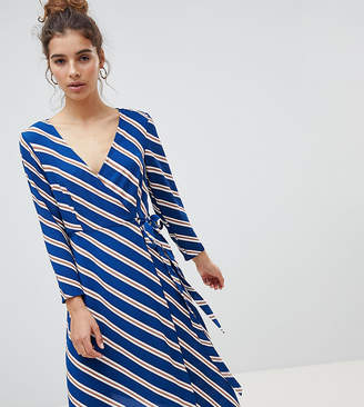 New Look Wrap Asymmetric Stripe Midi Dress