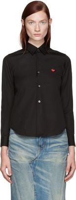 Comme des Garçons Play Black Poplin Small Heart Shirt $225 thestylecure.com