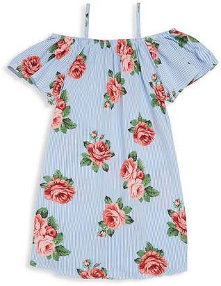 Pinc Premium Floral-Print Cold-Shoulder Shift Dress