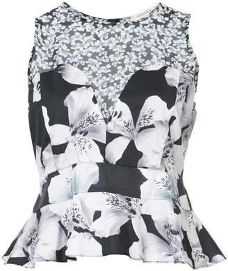 Nicole Miller sleeveless floral blouse