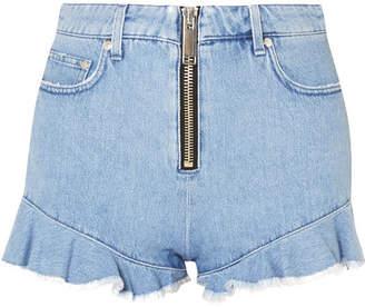 MSGM Ruffled Denim Shorts - Light denim