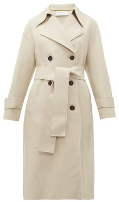 Harris Wharf London Double Breasted Pressed Wool Trench Coat - Womens - Ivory