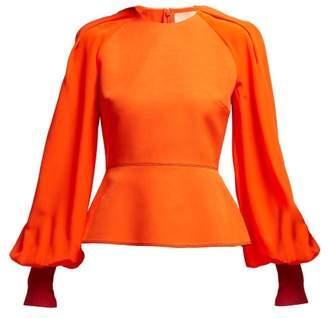 Roksanda Alana Fluted Silk Blend Crepe De Chine Top - Womens - Red