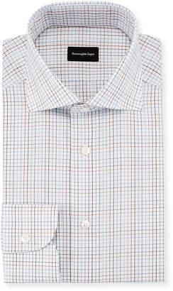 Ermenegildo Zegna Graph Check Dress Shirt, Brown/Blue
