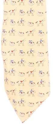 Hermes Rocking Horse Print Silk Tie