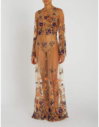 I.D. Sarrieri Floral-embroidered tulle dress