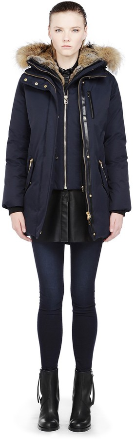 Mackage Marla-F3 Navy Down Parka With Natural Fur Trim On Hood