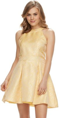Disney's Beauty and the Beast Juniors' Brocade Ruffle Halter Dress $58 thestylecure.com
