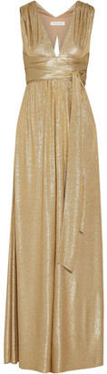 Halston Heritage - Belted Metallic Cloqué Gown - Gold $425 thestylecure.com