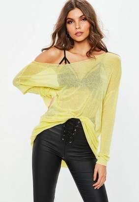 Missguided Yellow Sheer Laddered Oversized Sweater