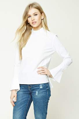 Forever 21 Mock Neck Bell-Sleeve Top