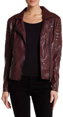 BLANKNYC Denim Faux Leather Frankenstorm Moto Jacket $148 thestylecure.com
