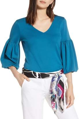 Halogen Blouson Sleeve Cotton Top (Regular & Petite)