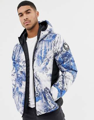 Good For Nothing hooded puffer jacket in alp print