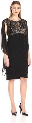 Jessica Howard JessicaHoward Women's Lace Bodice Dress with Scarf, Black/Tan