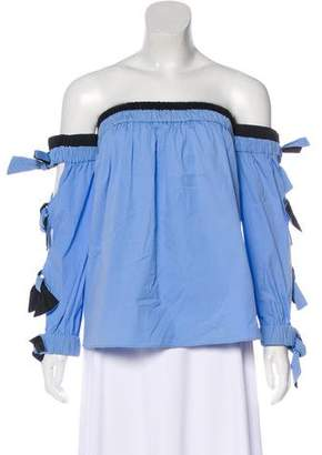 Milly Off-The-Shoulder Bow-Accented Top