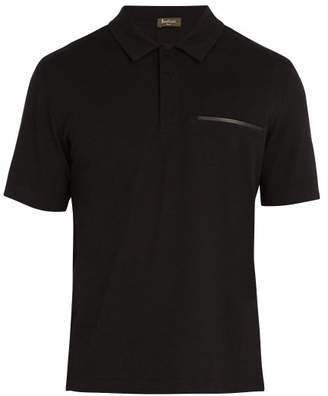 Berluti - Leather Trimmed Cotton Blend Polo Shirt - Mens - Black