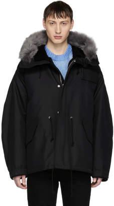 Calvin Klein Black Short Faux-Fur Hood Parka