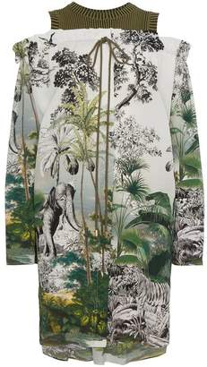 Alberta Ferretti printed cold shoulder silk dress
