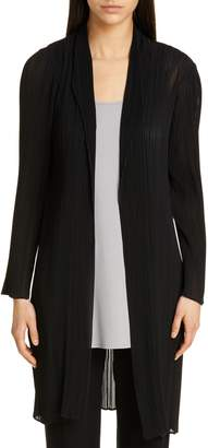 Eileen Fisher Shawl Collar Plisse Long Jacket