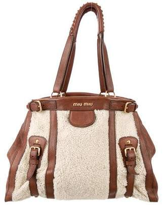 Miu Miu Leather-Trimmed Shearling Tote