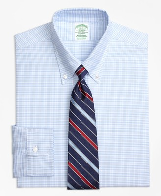 Brooks Brothers Original Polo Button-Down Oxford Milano Slim-Fit Dress Shirt, Plaid