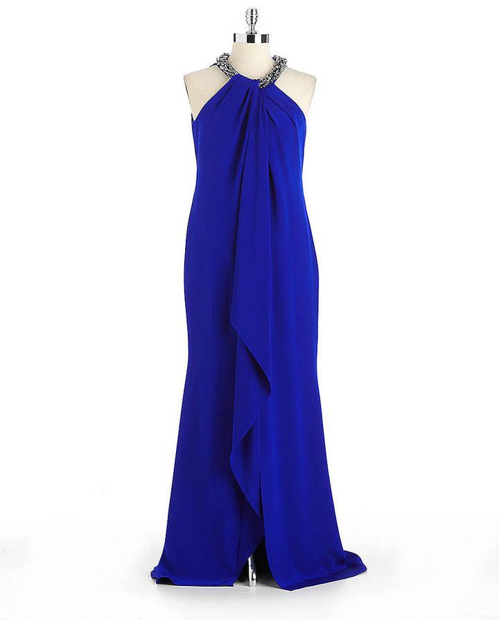 Carmen Marc Valvo Silk Draped Halter Gown