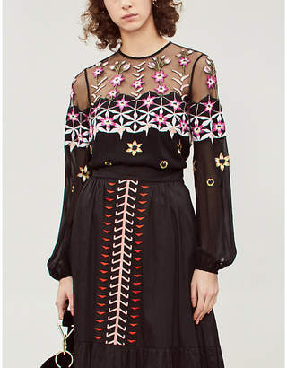 Temperley London Finale embroidered chiffon top