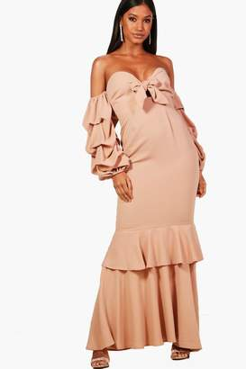 boohoo Boutique Ruched Sleeve Frill Maxi Dress