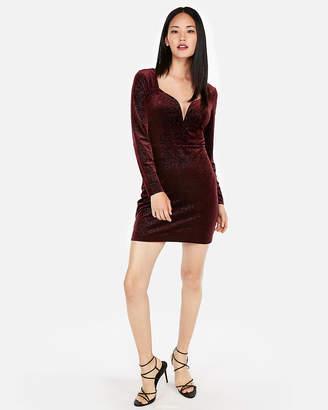 Express Petite Velvet Sweetheart V-Wire Sheath Dress