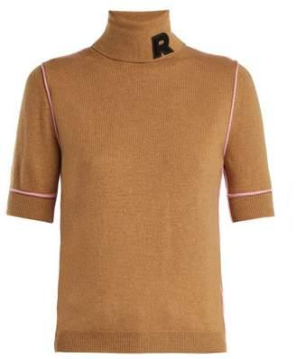 Rochas Logo Applique Cashmere Turtleneck - Womens - Brown Multi