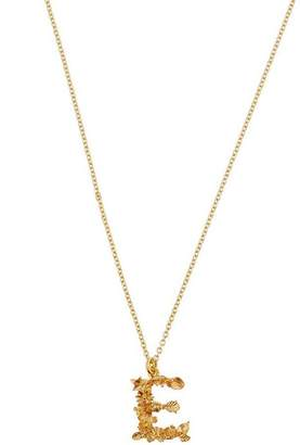Alex Monroe Gold-Plated Floral Letter E Alphabet Necklace