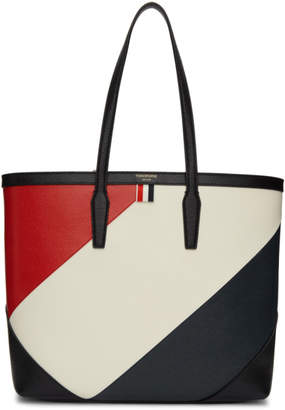 Thom Browne Black Bold Diagonal Stripe Bucket Tote
