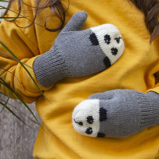 Button and Blue Child And Baby Panda Mittens With Strings