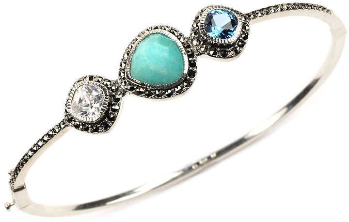 Judith Jack Bracelet, Sterling Silver Marcasite and Peruvian Amazonite Bangle