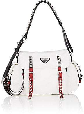 Prada Women's Leather-Trimmed Messenger Bag - White